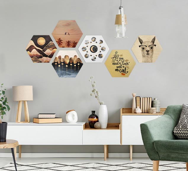 Wandbild Hexagon