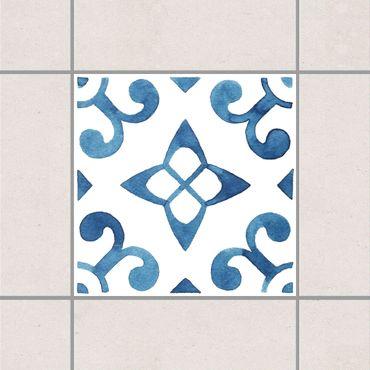 Adesivo per piastrelle - Pattern Blue White Series No.5 10cm x 10cm