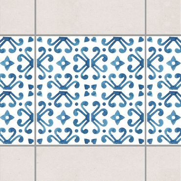 Bordo adesivo per piastrelle - Blue White Pattern Series No.7 10cm x 10cm