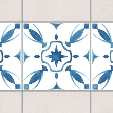 Bordo adesivo per piastrelle - Pattern Blue White Series No.1 10cm x 10cm