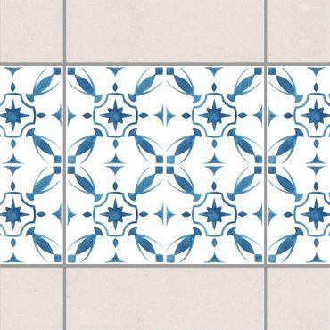 Bordo adesivo per piastrelle - Blue White Pattern Series No.1 15cm x 15cm