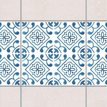 Bordo adesivo per piastrelle - Blue White Pattern Series No.2 15cm x 15cm
