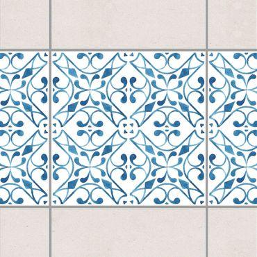 Bordo adesivo per piastrelle - Blue White Pattern Series No.3 15cm x 15cm