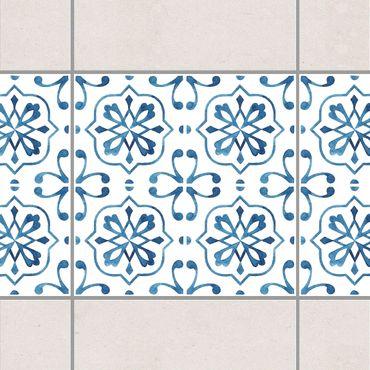 Bordo adesivo per piastrelle - Blue White Pattern Series No.4 15cm x 15cm