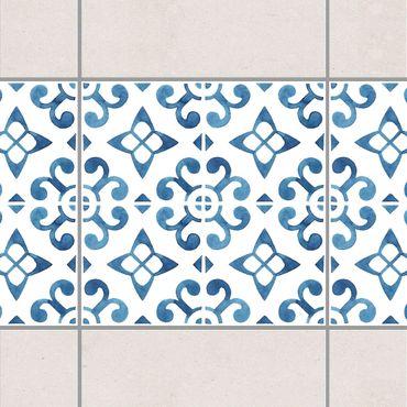 Bordo adesivo per piastrelle - Blue White Pattern Series No.5 15cm x 15cm