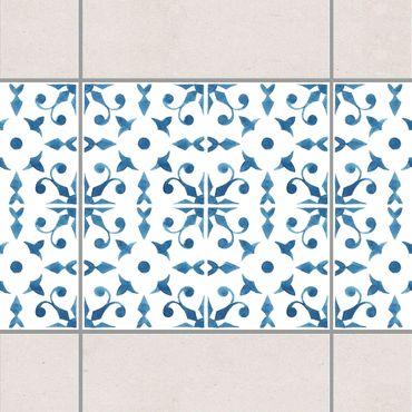 Bordo adesivo per piastrelle - Blue White Pattern Series No.6 15cm x 15cm