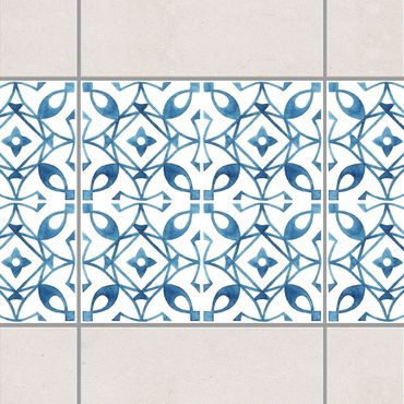 Bordo adesivo per piastrelle - Blue White Pattern Series No.8 15cm x 15cm