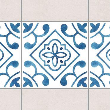 Bordo adesivo per piastrelle - Pattern Blue White Series No.2 15cm x 15cm