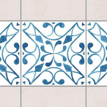 Bordo adesivo per piastrelle - Pattern Blue White Series No.3 15cm x 15cm