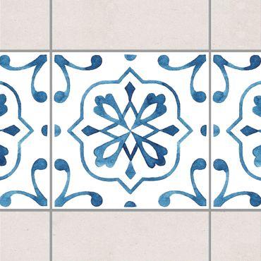Bordo adesivo per piastrelle - Pattern Blue White Series No.4 15cm x 15cm