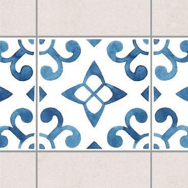 Bordo adesivo per piastrelle - Pattern Blue White Series No.5 15cm x 15cm
