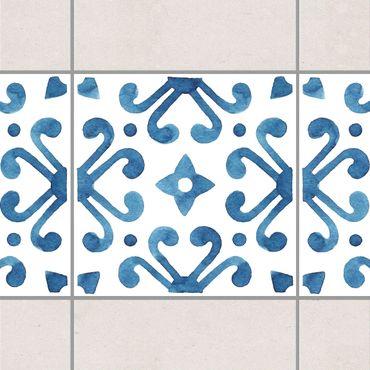 Bordo adesivo per piastrelle - Pattern Blue White Series No.7 15cm x 15cm