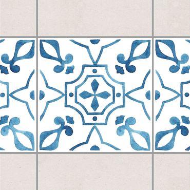 Bordo adesivo per piastrelle - Pattern Blue White Series No.9 15cm x 15cm