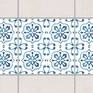 Bordo adesivo per piastrelle - Blue White Pattern Series No.4 20cm x 20cm