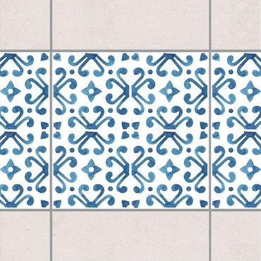 Bordo adesivo per piastrelle - Blue White Pattern Series No.7 20cm x 20cm