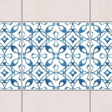 Bordo adesivo per piastrelle - Blue White Pattern Series No.8 20cm x 20cm