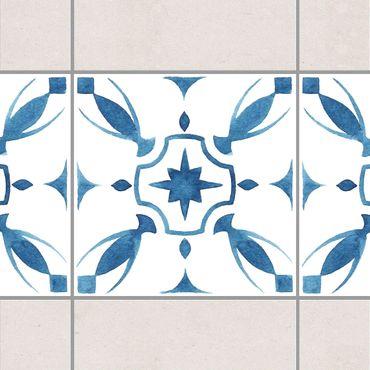 Bordo adesivo per piastrelle - Pattern Blue White Series No.1 20cm x 20cm