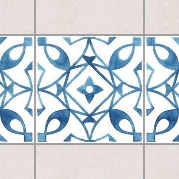 Bordo adesivo per piastrelle - Pattern Blue White Series No.8 20cm x 20cm