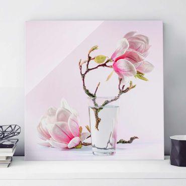 Quadro in vetro - Magnolia in glass - Quadrato 1:1