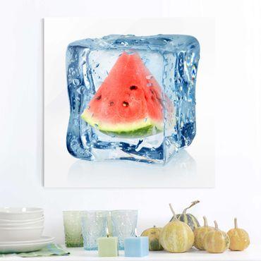 Quadro in vetro - Melon in ice cube - Quadrato 1:1