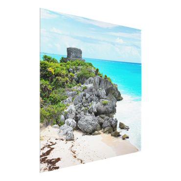 Quadro in vetro - Caribbean Coast Tulum ruins - Quadrato 1:1