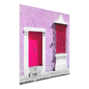 Quadro in vetro - Pink façade Pink Door - Quadrato 1:1