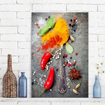 Quadro in vetro - Spoons with spices - Verticale 2:3