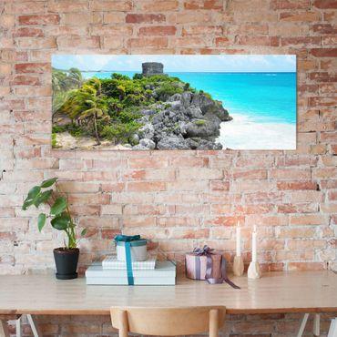 Quadro in vetro - Caribbean Coast Tulum ruins - Panoramico