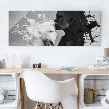 Quadro in vetro - Milk & Coffee Kiss black - Panoramico