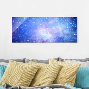 Quadro in vetro - Constellation sky map - Panoramico
