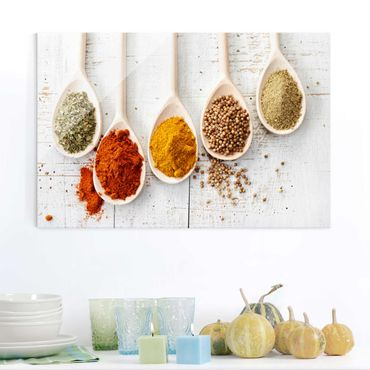 Quadro in vetro - Wooden spoons with spices - Orizzontale 3:2