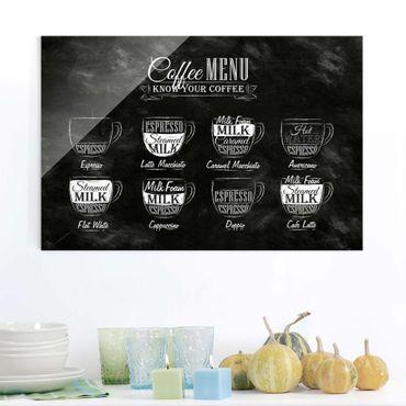 Quadro in vetro - Coffees chalkboard - Orizzontale 3:2