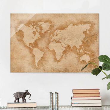 Quadro in vetro - Antique World Map - Orizzontale 3:2