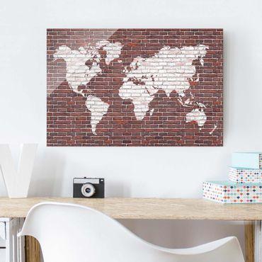 Quadro in vetro - Brick world map - Orizzontale 3:2