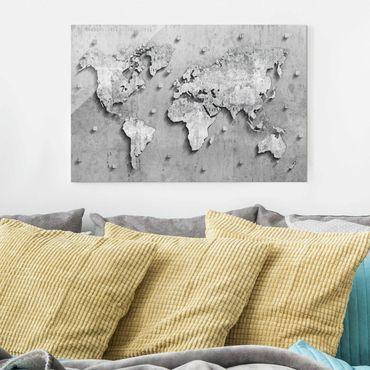 Quadro in vetro - Concrete World Map - Orizzontale 3:2