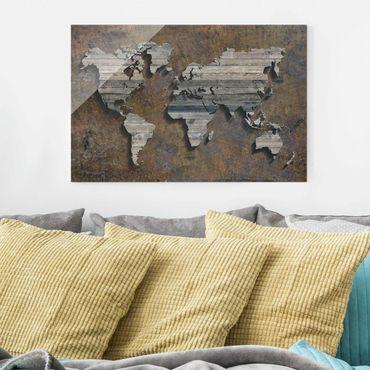 Quadro in vetro - Wooden grid world map - Orizzontale 3:2