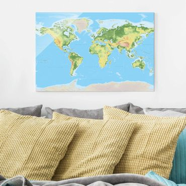 Quadro in vetro - Physical World Map - Orizzontale 3:2