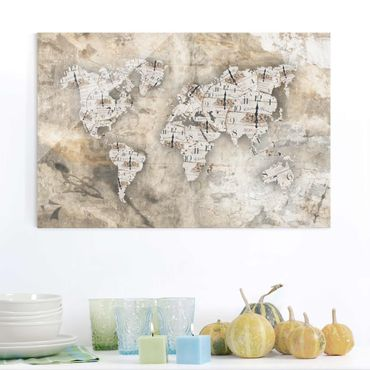 Quadro in vetro - Shabby watches world map - Orizzontale 3:2
