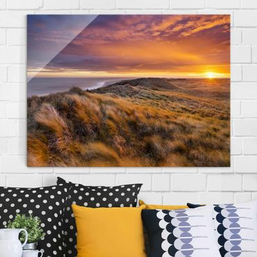 Quadro in vetro - Sunrise on the beach on Sylt - Orizzontale 4:3
