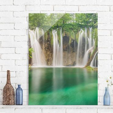 Quadro in vetro - Waterfall Plitvice Lakes - Verticale 3:4