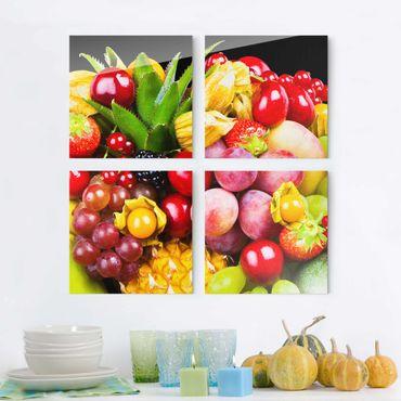 Quadro in vetro - Fruit bokeh - 4 parti set