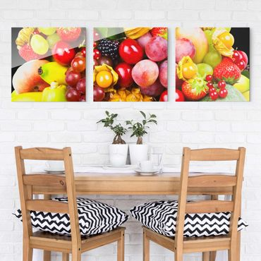 Quadro in vetro - Colorful Exotic Fruits - 3 parti set
