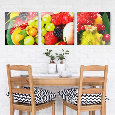 Quadro in vetro - Fruit Basket - 3 parti set