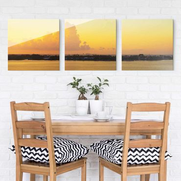 Quadro in vetro - Mexico sunset - 3 parti set