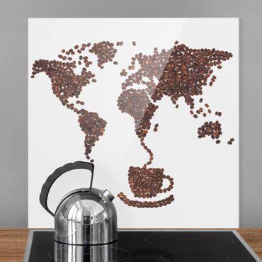 Paraschizzi in vetro - Coffee around the world - Quadrato 1:1