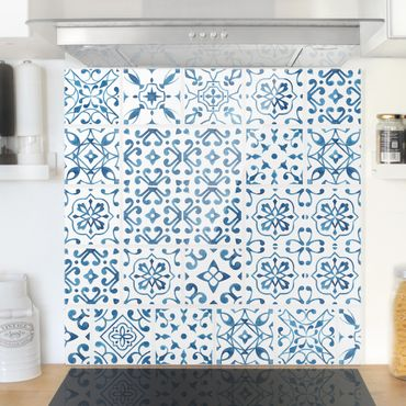 Paraschizzi in vetro - Tile pattern Blue White - Quadrato 1:1