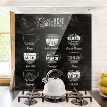 Paraschizzi in vetro - Coffees chalkboard - Quadrato 1:1