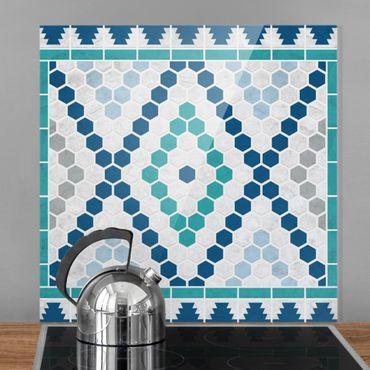 Paraschizzi in vetro - Moroccan tile pattern turquoise blue - Quadrato 1:1
