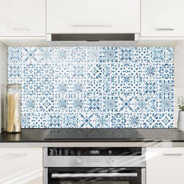 Paraschizzi in vetro - Tile pattern Blue White - Orizzontale 1:2