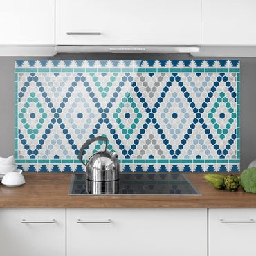 Paraschizzi in vetro - Moroccan tile pattern turquoise blue - Orizzontale 1:2